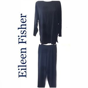 Eileen Fisher silk tunic and pant set navy blue
